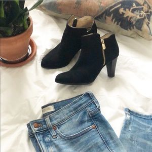 Black Sueded High-Low Booties with Gold Zip